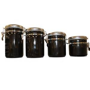 black kitchen canisters sets anchor hocking 4 piece ceramic canister set in black 03923mr the home depot