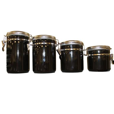 4 kitchen canister sets anchor hocking 4 ceramic canister set in black 03923mr the home depot