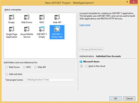 templates for asp net web application announcing asp net features in visual studio 2015 preview