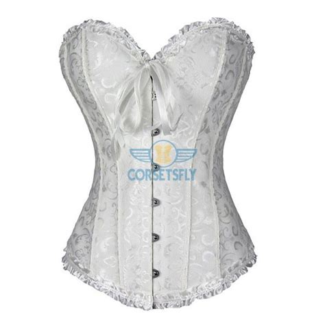vintage white brocade lace up boned corset overbust bustier tops s wholesale womens fashion satin classic sweetheart basque lace up overbust corset cf7042 corsetsfly