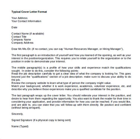 sample microsoft word cover letter template