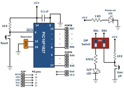 breadboard circuit schematic breadboard module for 18 pin pic16f microcontrollers pcb version embedded lab