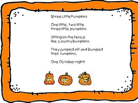 pumpkin poems a s touch three pumpkins song freebie
