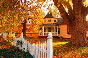 pretty house in autumn computer wallpapers desktop 3 rooms and colors for fall decorating five star