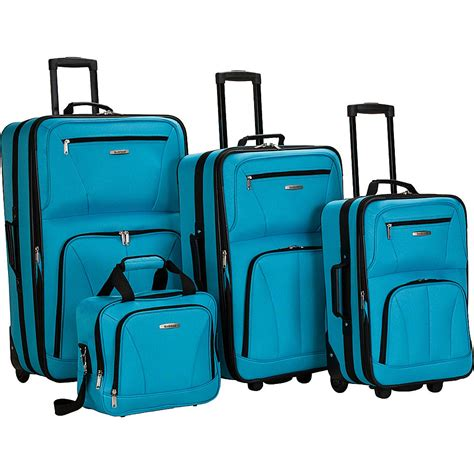 4 l set rockland luggage deluxe 4 luggage set 7 colors ebay
