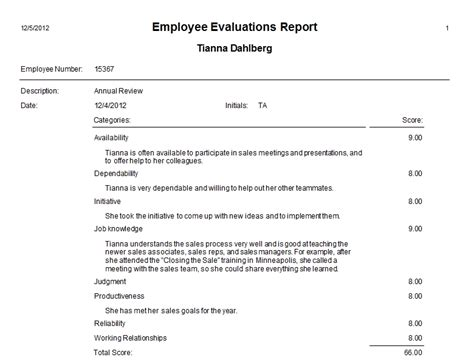employee evaluation report template sle evaluation report sle employee evaluation