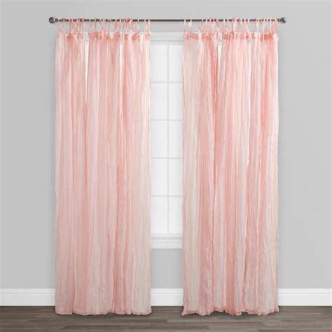Blush Pink Curtains Blush Pink Crinkle Cotton Voile Curtains Set Of 2 World Market