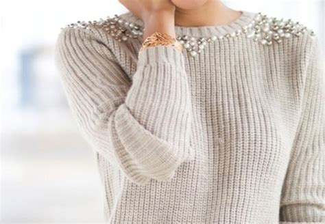 how to pearl knit sweater beige bedazzled knitted sweater clothes pearl