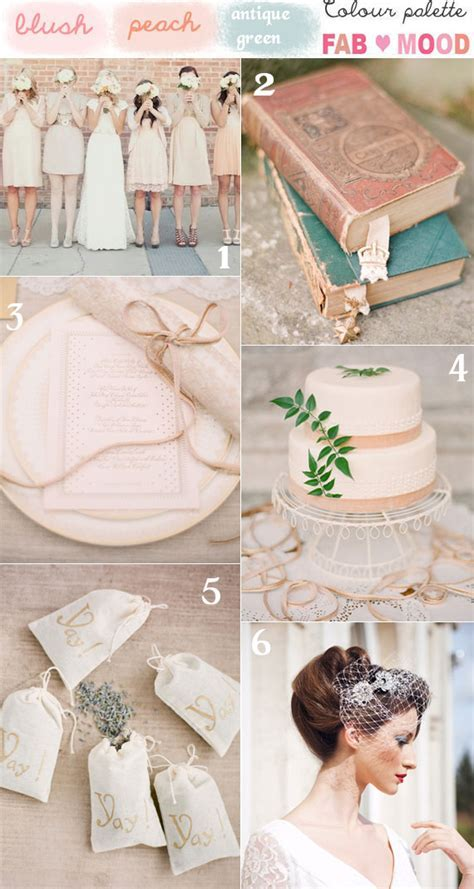 Blush Peach and Green Vintage Wedding Mood Board
