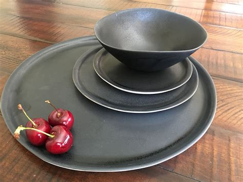 Handmade Stoneware Dinnerware Sets - black dinnerware set handmade dinnerware set pottery plates