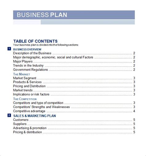 business template 5 free business plan templates excel pdf formats