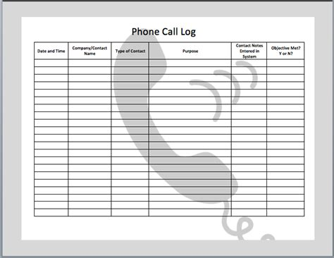 Call Register Template phone call log template microsoft office templates