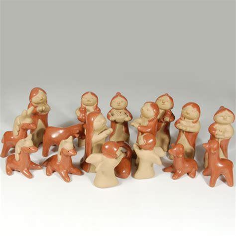 santa clara pottery nativity set southwest indian pottery native pottery clay figurine