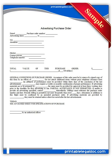 free printable advertising purchase order form generic