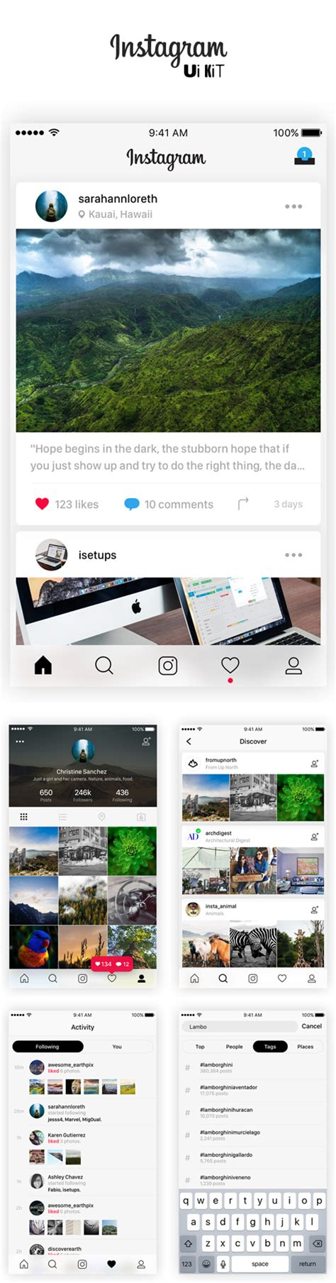 free instagram for mobile free mobile ui kits psd design graphic design junction