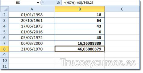 calcular la edad  partir de fecha de nacimiento en excel