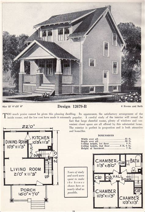 Vintage Craftsman House Plans by 1920s Craftsman Bungalow Craftsman Plan Cottage C
