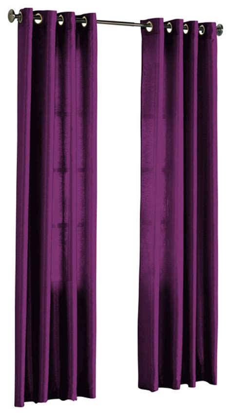 purple grommet curtains hlc me pair of faux silk grommet curtain panels purple