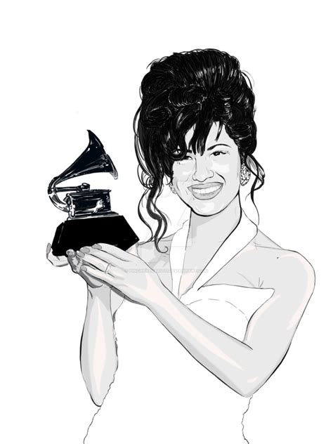 Selena Q Drawing by Selena Quintanilla Perez Accepting Grammy By
