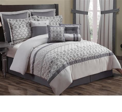 kohl s 10 pc embroidered bedding set cal king 106 x 92 gray tones new ebay
