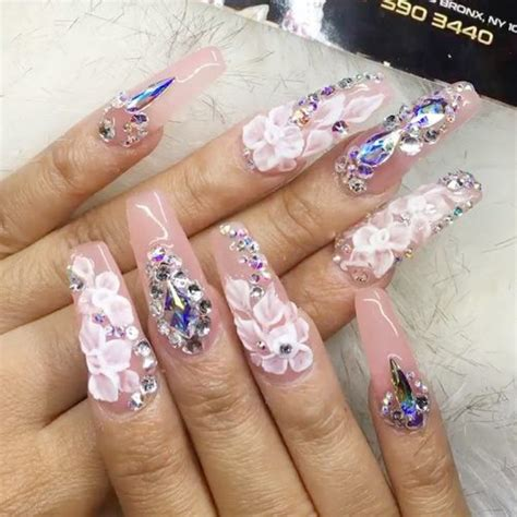 cardi b light pink flowers jewels nail art studs nails