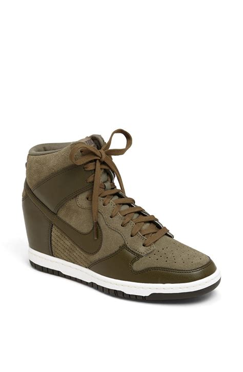 wedge nike sneakers nike dunk sky hi wedge sneaker in gray loden