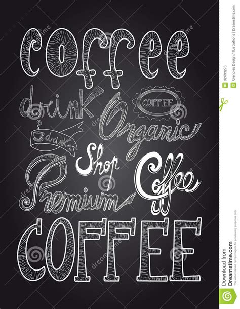 Poster 126 Coffee coffee chalkboard illustration royalty free stock photo