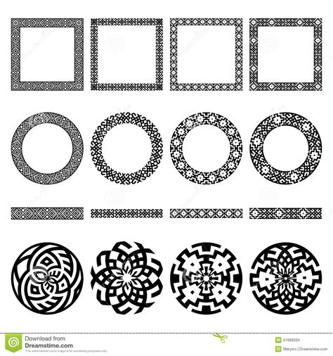 set of ethnic greek borders round and square frames
