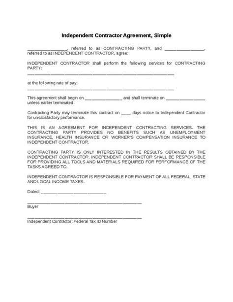 1099 contractor agreement template simple independent contractor agreement template business