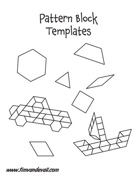 pattern block shape outlines free paper pattern block templates printable pattern