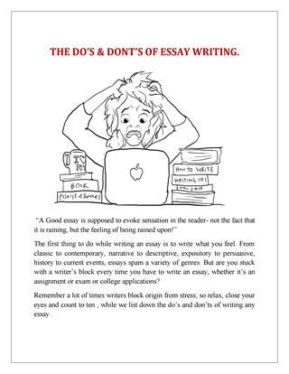 Dos And Don Ts Of Essay Writing by Learn The Dos And Don Ts Of Essay Writing For Acing On All Your Academic Papers By