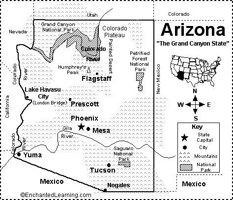 california map enchanted learning arizona