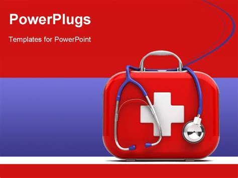 aid powerpoint template stethoscope and aid kit isolated powerpoint template