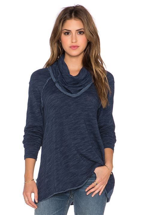 Cowl Neck Sweater free cocoon cowl neck sweater in blue lyst