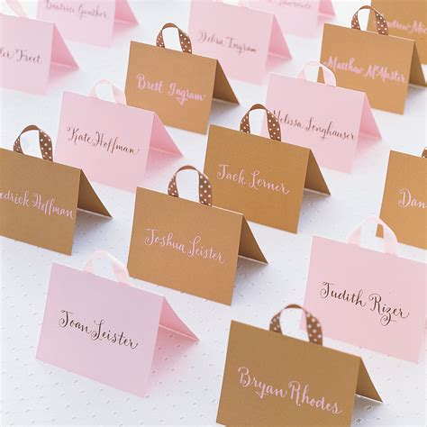 Dreidel Place Card Template Martha Stewart by Handbag Seating Cards Martha Stewart Weddings