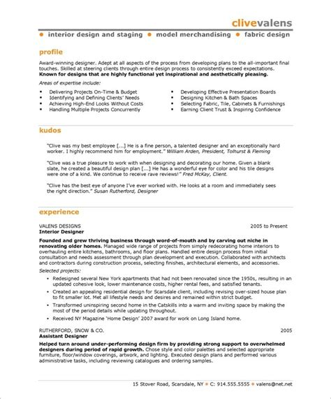 Resumes For Interior Designers by Interior Designer Free Resume Sles Blue Sky Resumes