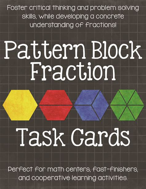 pattern block fractions video pattern block fraction task cards math centers teaching