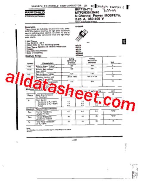 transistor irf460 irf710 datasheet pdf fairchild semiconductor