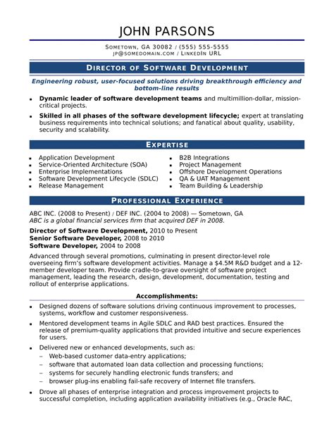 resume exles software developer sle resume for an experienced it developer