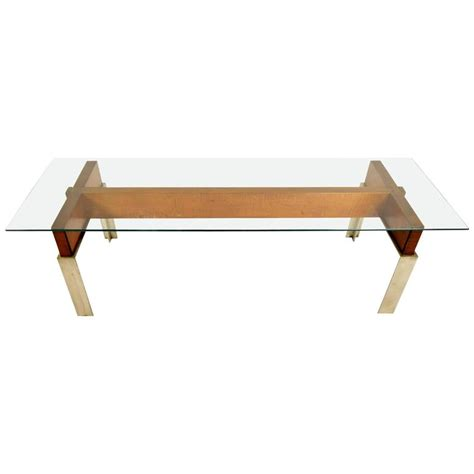 mid century modern chrome and wood coffee table for sale