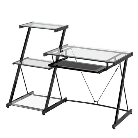 Modern Metal Desks Z Line Designs Nero Modern Metal And Glass Desk And Bookcase Zl2021dbu