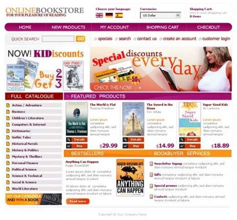 Bookstore Website Template Templatesbox Com Bookstore Website Template