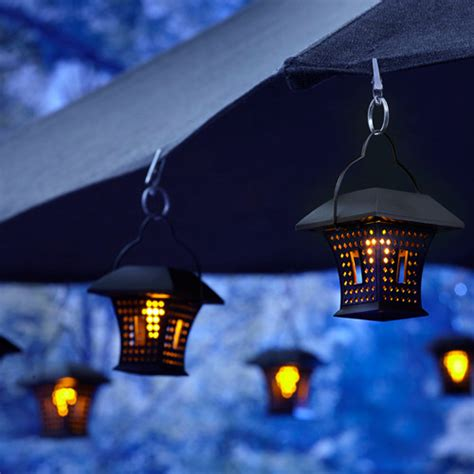 Patio Umbrella With Hanging Solar Lights Rustic Patio Outdoor Umbrella With Solar Lights
