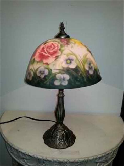 Painted L Shades Table Ls by Painting Glass Shade Flower Pattern