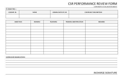 csr performance review form format sles word