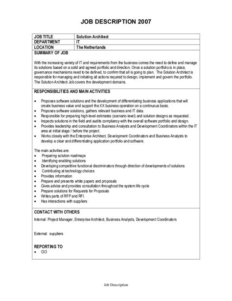 it description description solution architect