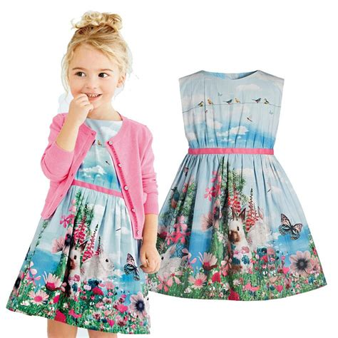 rabbit pattern clothes summer girls dress brand fashion cartoon rabbit pattern
