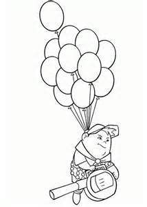 russell flying with baloons in disney up coloring page