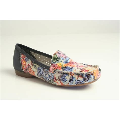 multi coloured flat shoes rieker rieker multi coloured slip on loafer with an