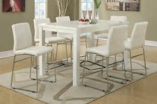 modern white dining table set 7pc modern high gloss white counter height dining table set